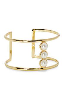 Gold-Tone Pearl T-Bar Cuff Bracelet
