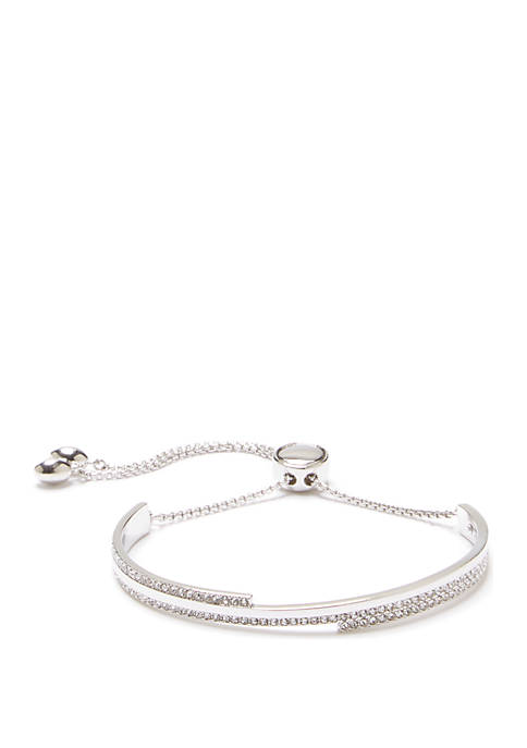 Silver Tone Pave Slider Bracelet