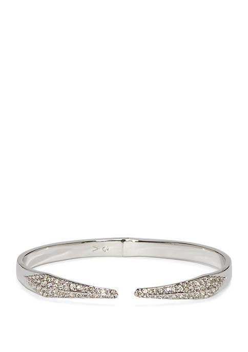 Silver Tone Crystal Pave Hinge Bracelet