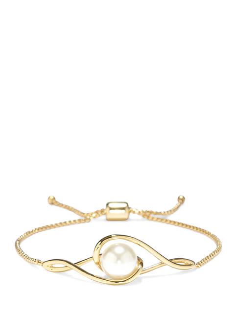 Gold Tone Twist Faux Pearl Slider Bracelet