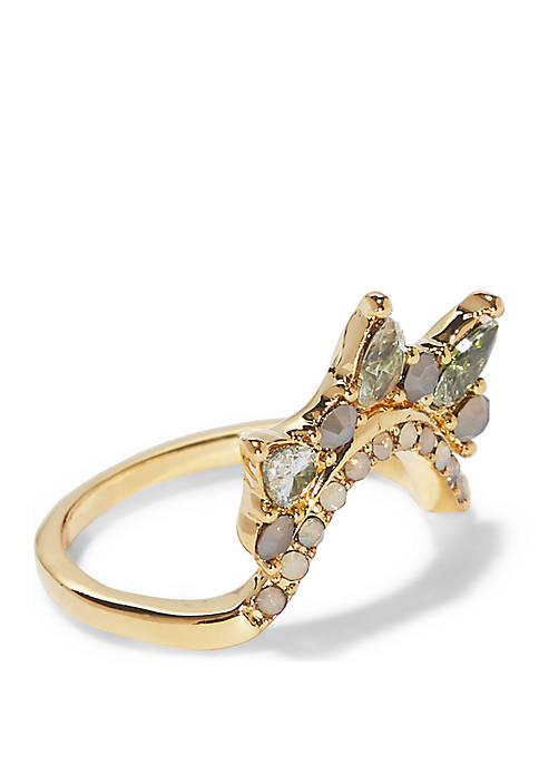 Aurora Borealis Gold-Tone Stone Ring