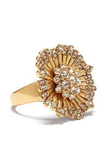 Danish Garden Vintage Gold-Tone Crystal Flower Ring