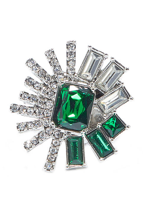 Silver Tone Drama Ring with Clear Cubic Zirconia and Emerald Crystal Baguettes