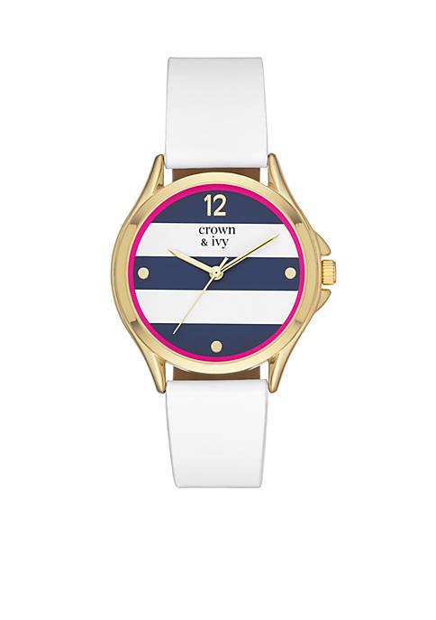 Womens Round Gold-Tone 3-Hand Watch