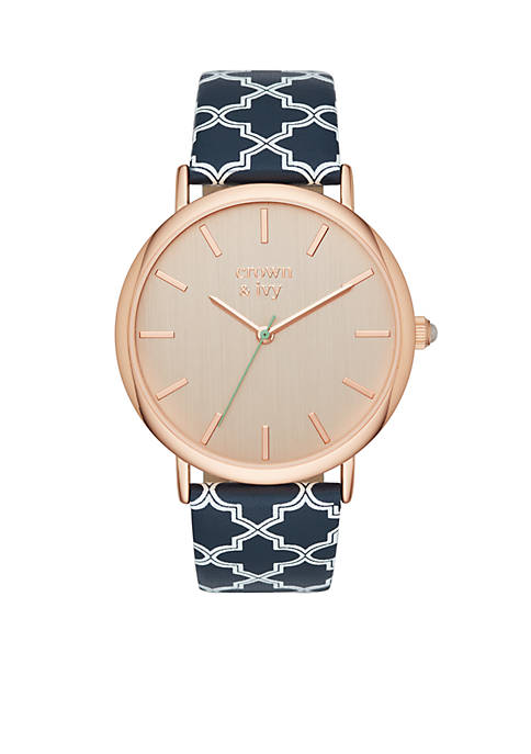 Crown & Ivy™ Womens Round Rose Gold-Tone Cilia