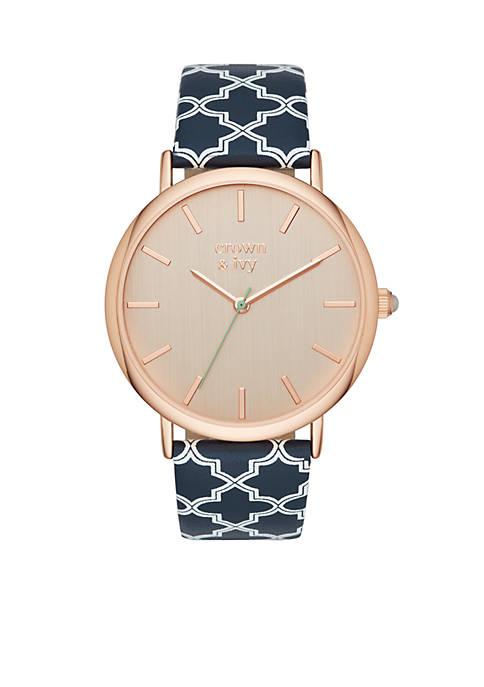 Womens Round Rose Gold-Tone Cilia  3-Hand Watch