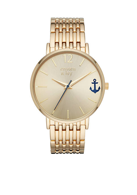 Womens Round Gold-Tone Mary Rose 3-Hand Watch