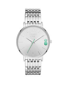 Women's Round Silver-Tone Mary Rose 3-Hand Watch With Silver Bracelet And Pineapple Detail