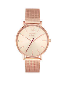 Women's Round Rose Gold Mary Rose 3-Hand Watch With Rose Gold Mesh Bracelet