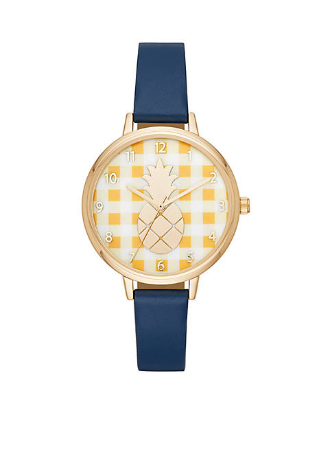 Fly Yellow Gingham Pineapple Navy Leather Strap Watch
