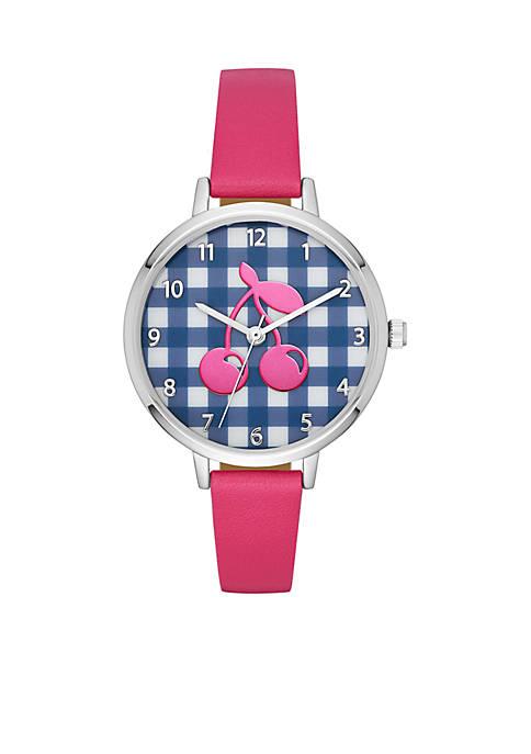 Crown & Ivy™ Navy Gingham Cherry Pink Strap