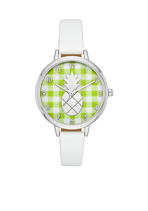 Crown & Ivy™ Lime Gingham Pineapple White Leather