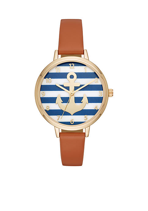 Crown & Ivy™ Anchor Navy Stripe Cognac Leather