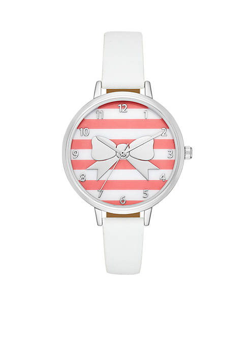 Crown & Ivy™ Bow Coral Stripe White Leather