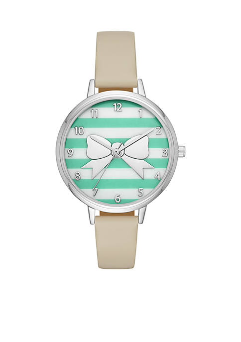 Crown & Ivy™ Bow Mint Stripe Pebble Leather