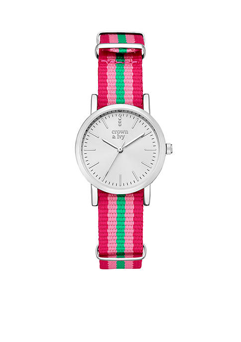Crown & Ivy™ Womens Silver-Tone Multicolor Nylon Watch