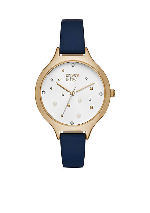 Crown & Ivy™ Pearl Glitz Navy Leather Watch