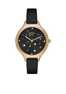 Pearl Glitz Black Leather Watch