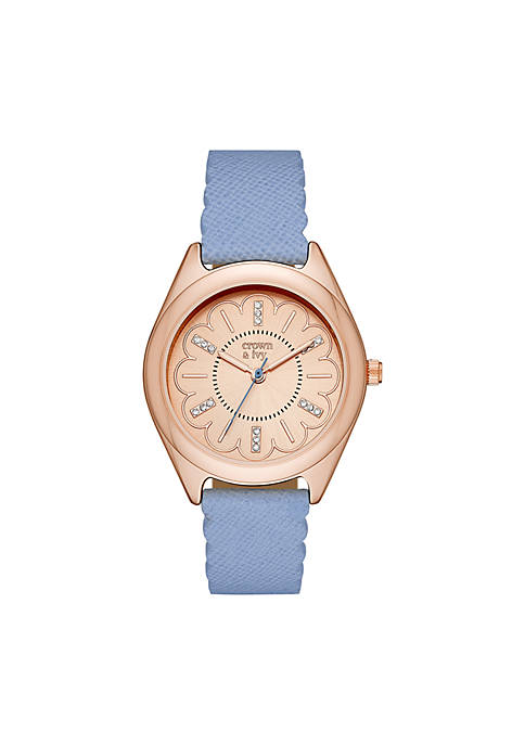 Crown & Ivy™ Womens Periwinkle Leather Watch
