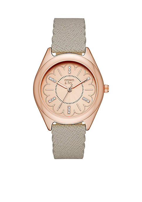 Crown & Ivy™ Pebble Scallop Leather Strap Watch
