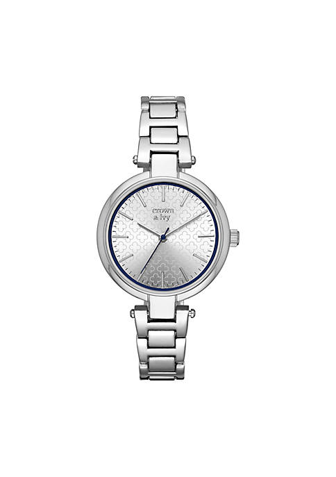 Crown & Ivy™ Womens T-Bar Stainless Steel Watch