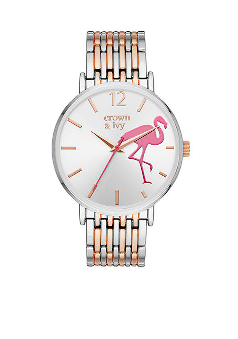 Crown & Ivy™ Womens Mary Rose Two-Tone Stainless