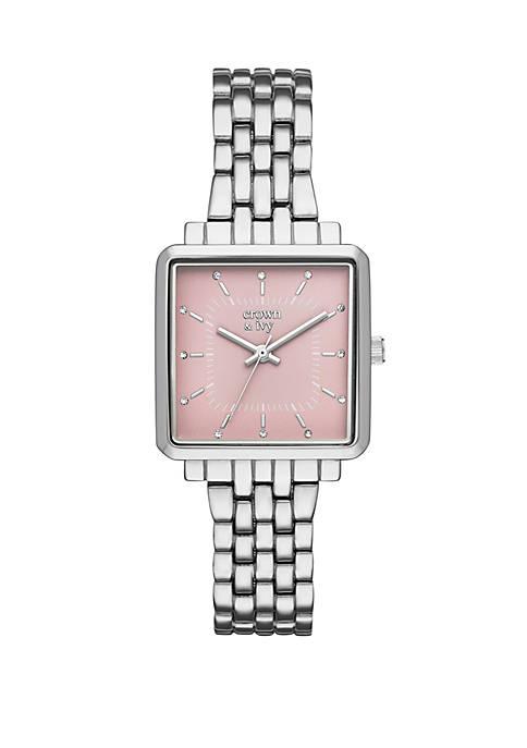 Hattie Silver Tone Three Hand Bracelet Watch