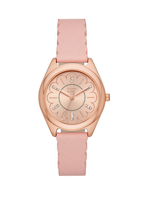 Rose Gold Tone Periwinkle Blush Leather Strap Watch