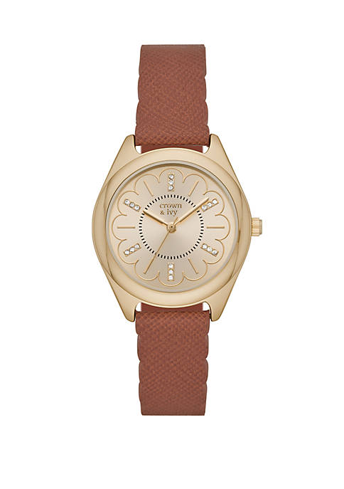 Periwinkle Gold Tone Cognac Leather Strap Watch