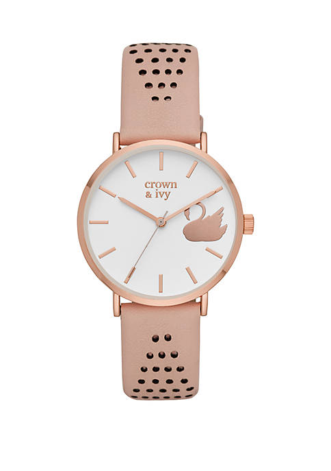 Crown & Ivy™ Mary Rose Blush Leather Strap