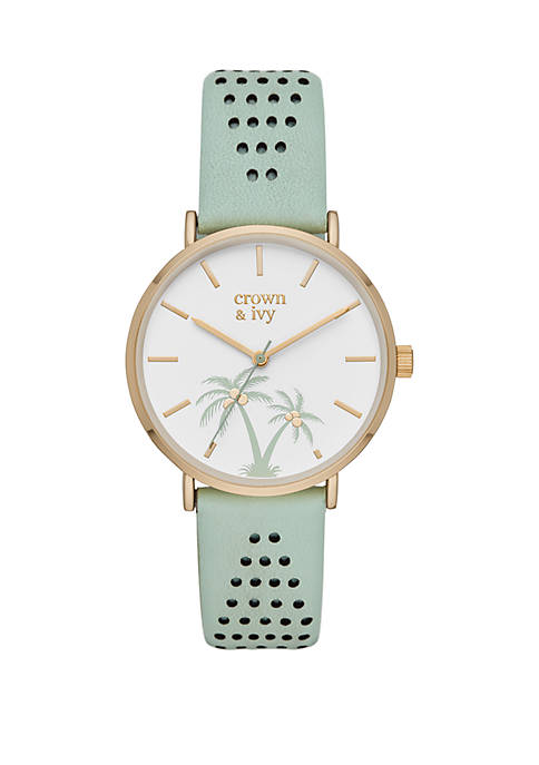 Mary Rose Mint Leather Strap with Palm Trees Watch