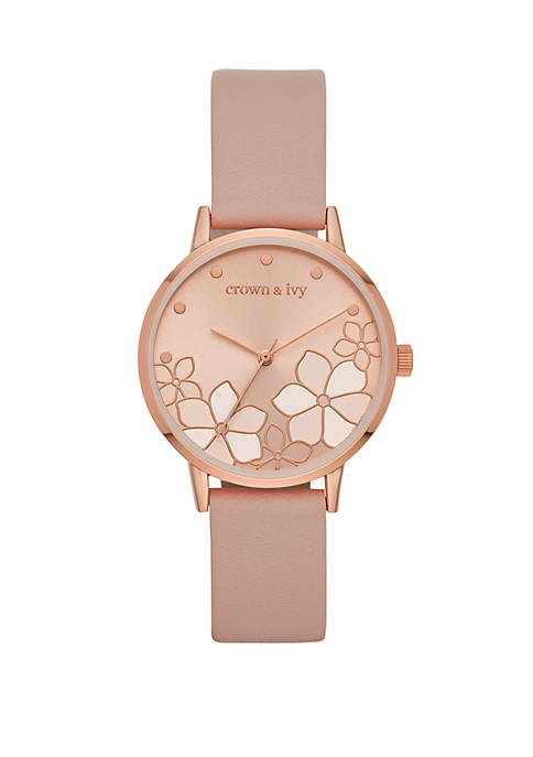 Ambrose Rose Gold and Blush Flower Dial Strap Watch