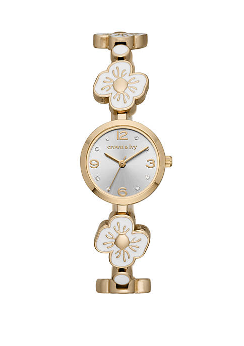 Tinsley Gold and White Flower Bracelet Watch