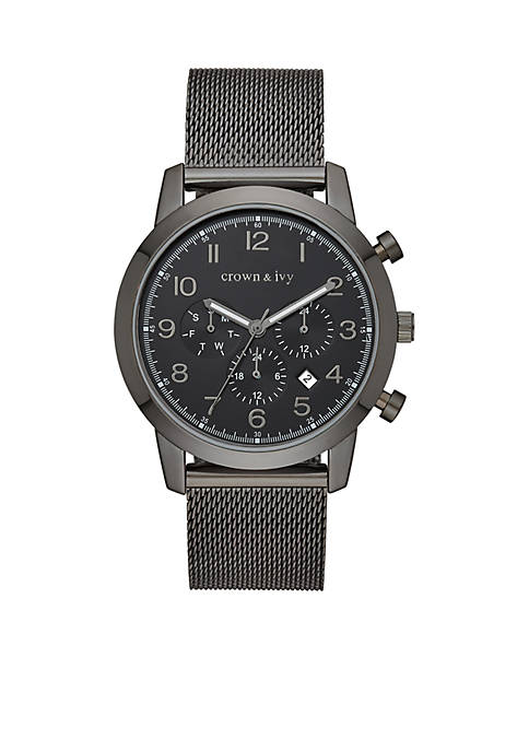 Crown & Ivy™ Mens Stainless Steel Blackout Mesh
