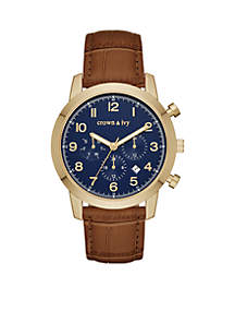 Men's Gold-Tone Croco Leather Multifunction Watch