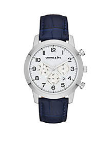 Men's Stainless Steel Croco Leather Multifunction Watch