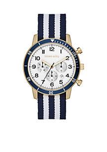 Crown & Ivy™ Men's Gold-Tone Nylon Multifunction Watch
