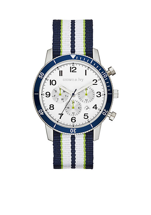 Crown & Ivy™ Mens Stainless Steel Nylon Multifunction