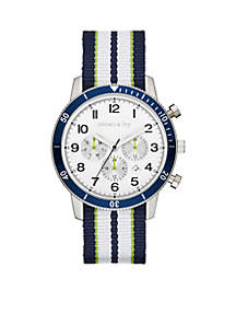 Crown & Ivy™ Men's Stainless Steel Nylon Multifunction Watch
