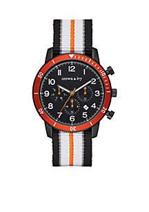 Crown & Ivy™ Men's Stainless Steel IP Nylon Multifunction Watch