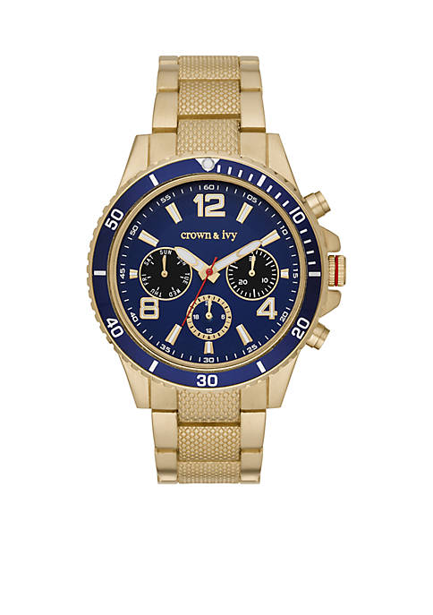 Crown & Ivy™ Mens Gold-Tone Dial Multifunction Watch