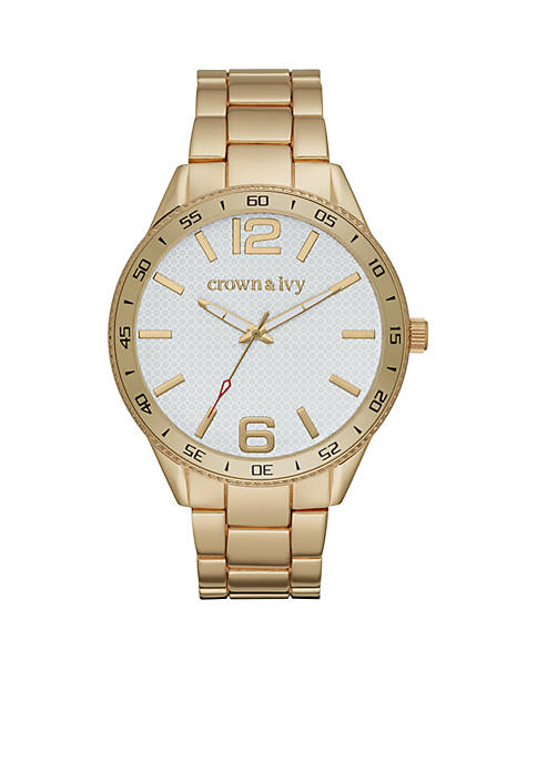 Crown & Ivy™ Mens Gold-Tone Dial Watch