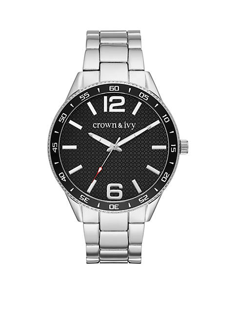 Crown & Ivy™ Mens Stainless Steel Textured Black