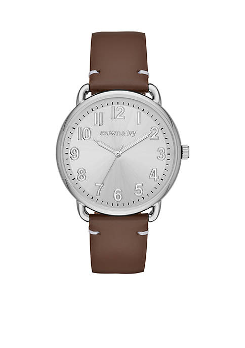 Crown & Ivy™ Mens Stainless Steel Leather Silver