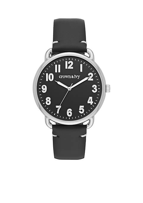 Crown & Ivy™ Mens Silver Tone Fraser Leather