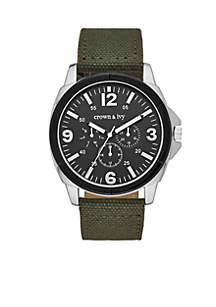 Men's Silver Tone Fletcher Multi Function Canvas Strap Watch