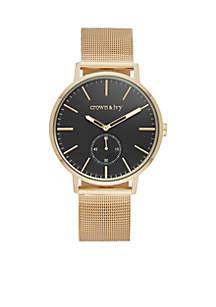 Mesh Gold-Tone Single Black Dial Watch
