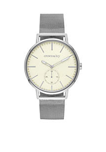Crown & Ivy™ Silver-Tone Single Gray Dial Watch