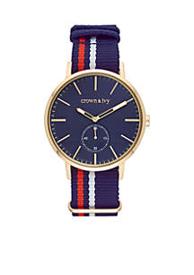 Crown & Ivy™ Gold-Tone Nato Navy Dial Watch