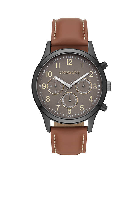 Crown & Ivy™ Mens Silver-Tone Sergeant Multifunction Leather